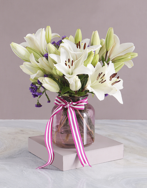 colour: Pure White Lilies in Pink Vase!