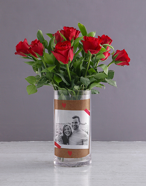 colour: Personalised Red Roses in Forever Photo Vase!