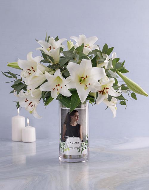 colour: Personalised Saint Joseph Lilies in Vase!
