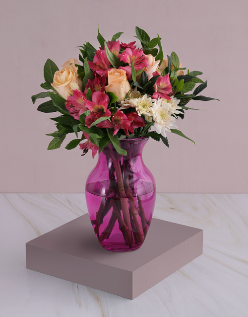 colour: Roses And Peruvian Lilies In Pink Flair!