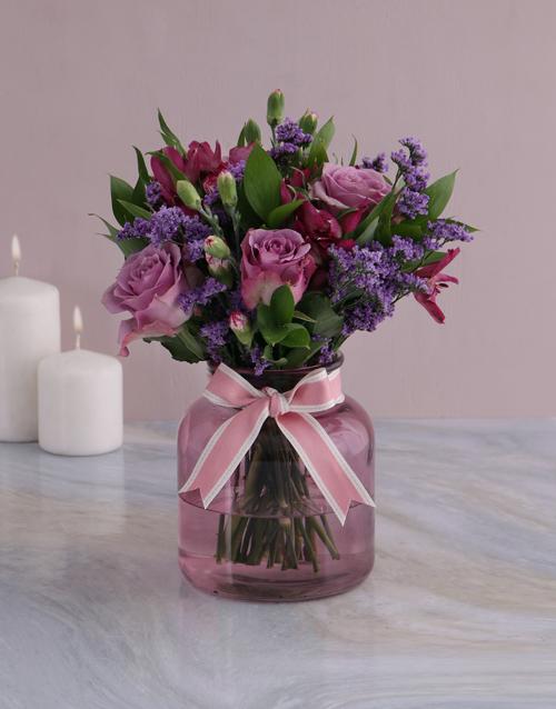 sympathy: Lilac Floral Mix In Purple Vase!