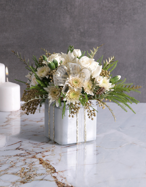 christmas: Radiant White Florals in Square Vase!