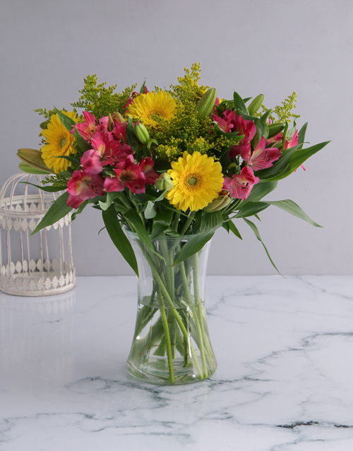 mixed: Soft Inca Lily and Gerbera Vase!