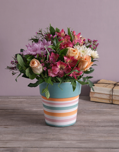 colour: Pastel Mix In A Striped Pottery Vase!