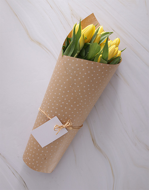 friendship: Yellow Sensation Tulip Bouquet!