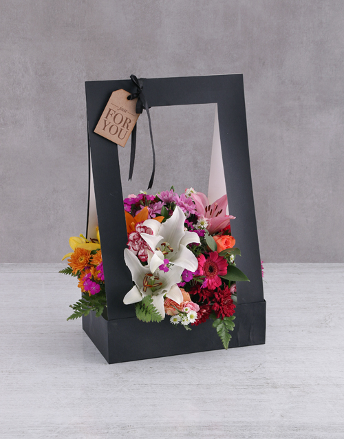 friendship: Mixed Flowers In A Black Box!