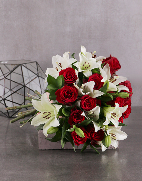 anniversary: Red Rose and White Lily Bouquet!