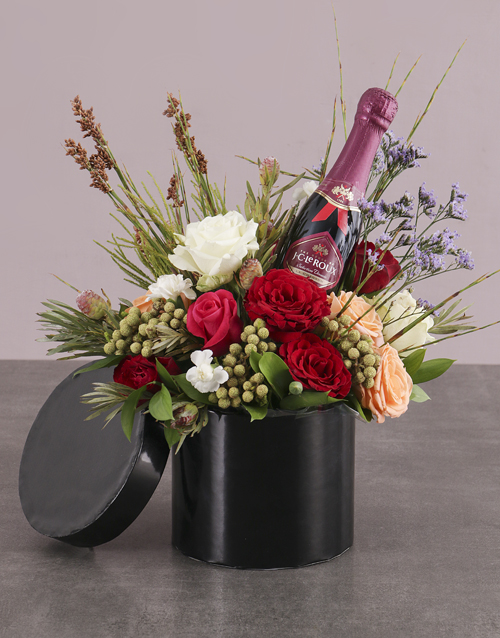 mixed: Champagne and Roses in Hatbox!