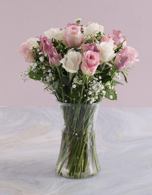 anniversary: Pale Pastel Mixed Rose Arrangement!