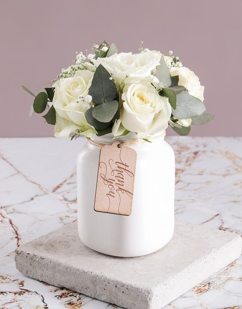 colour: Thank You Consol Jar of White Roses!