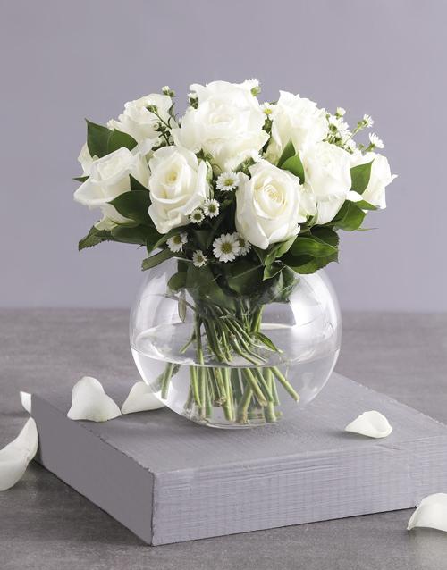 flowers: Celestial White Roses in Fish Bowl Vase!