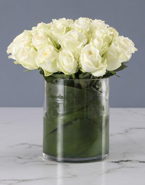 vase: Pure White Rose Arrangement!