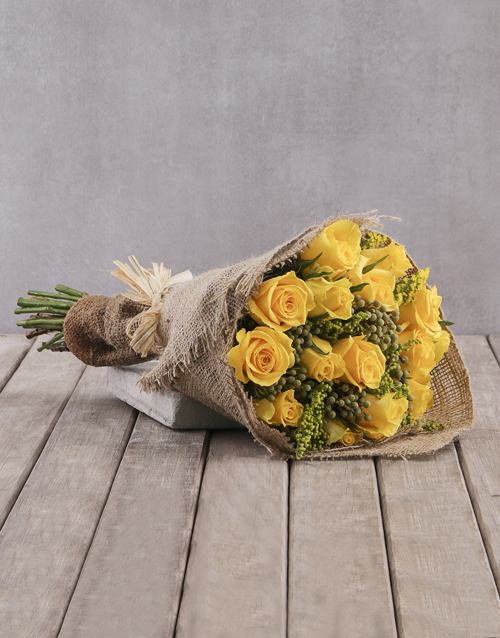 bouquets: Cheerful Yellow Rose Bouquet!