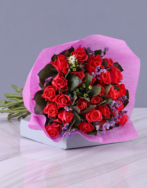 colour: Spectacular Cerise Rose Bouquet!