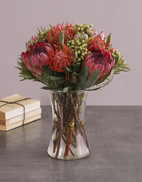 colour: Protea Fantasia In A Glass Vase!