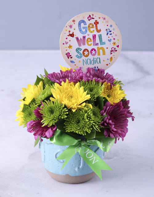 colour: Personalised Get Well Soon Spray Pot!