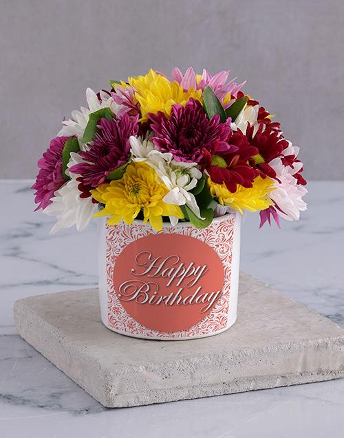 colour: Happy Birthday Spray in White Vase!