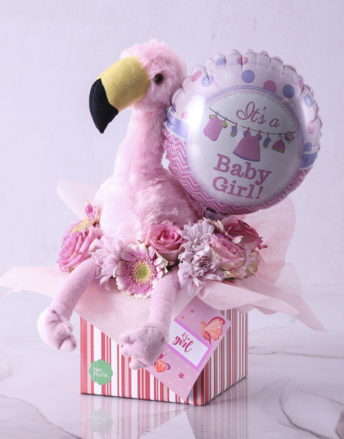 teddy-bears: Baby Girl Flamingo Hamper!