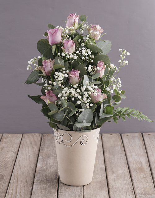 easter: Lilac Roses in Ceramic Pottery!