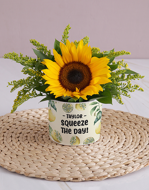 thank-you: Personalised Squeeze the Day Sunflower!