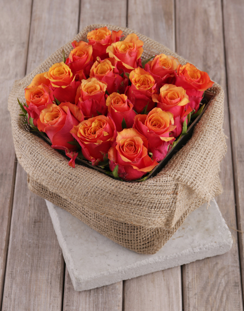 colour: Cherry Brandy Roses in Rustic Box!