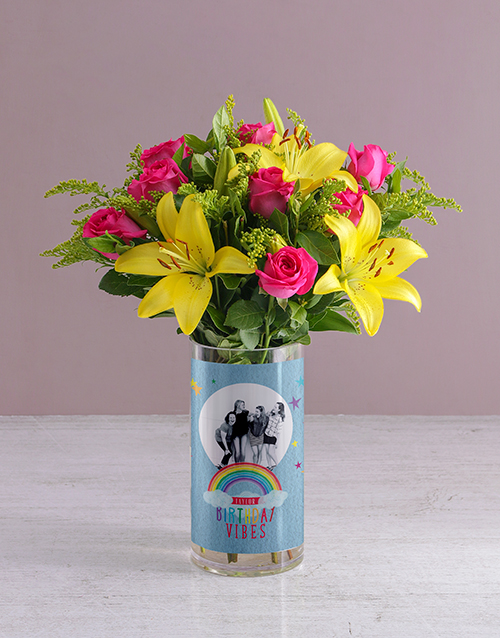 colour: Personalised Birthday Vibes Blooms Photo Vase!