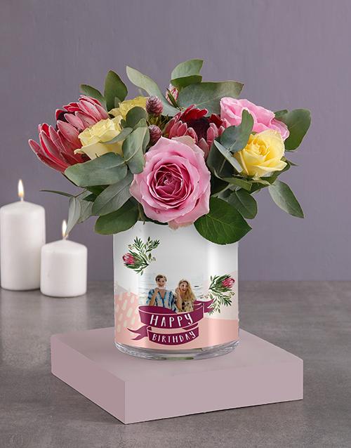 flowers: Personalised Birthday Roses Photo Vase!