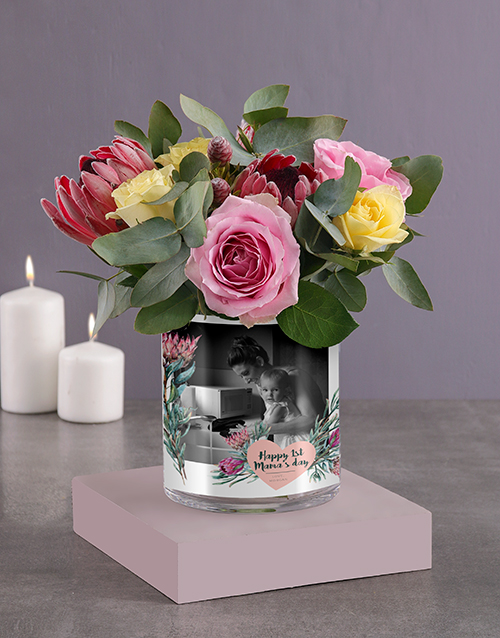 christmas: Personalised Florals For Mom Photo Vase!