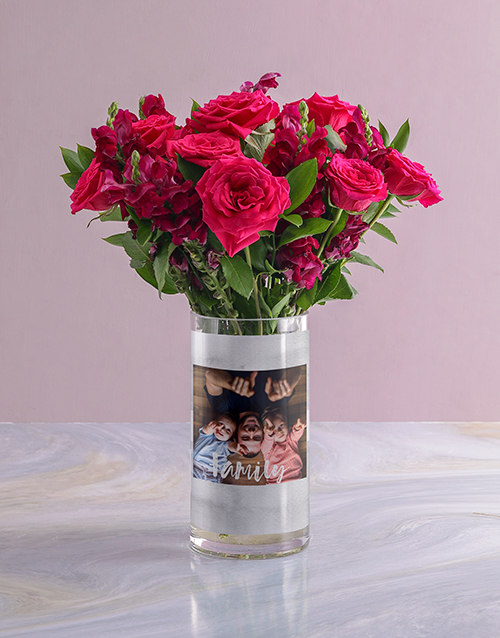 colour: Personalised Family Rose Bunch Photo Vase!