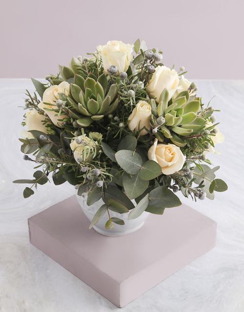 thank-you: Cream Rose and Succulent Arrangement!