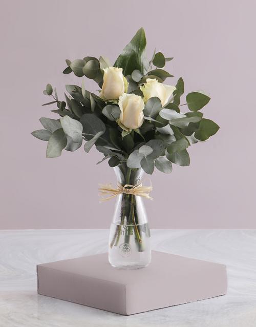 thank-you: Trio of Cream Roses in Carafe!