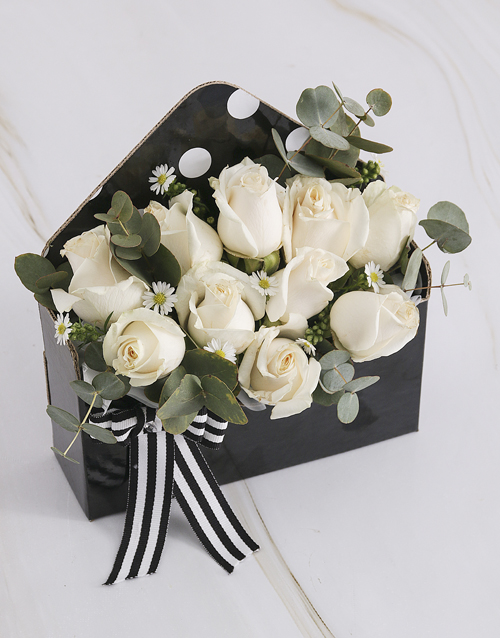 thank-you: Cream Roses in Black Envelope!