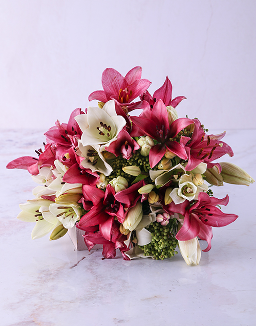 colour: Pastel Pink and White Lily Bouquet!