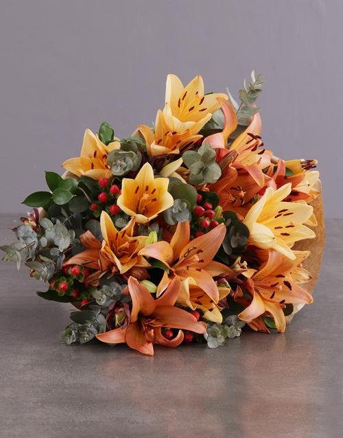 christmas: Sunset Orange Lily Bouquet!