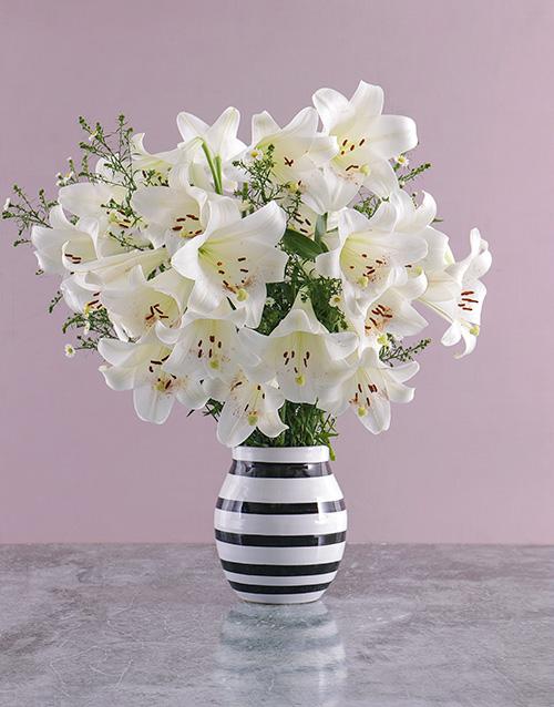 colour: St Joseph Lilies in Striped Vase!