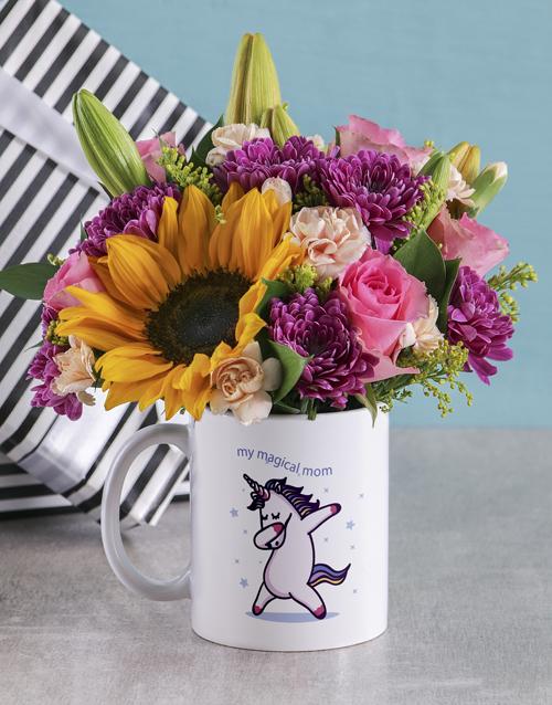 colour: Magical Mom Unicorn Flower Mug!
