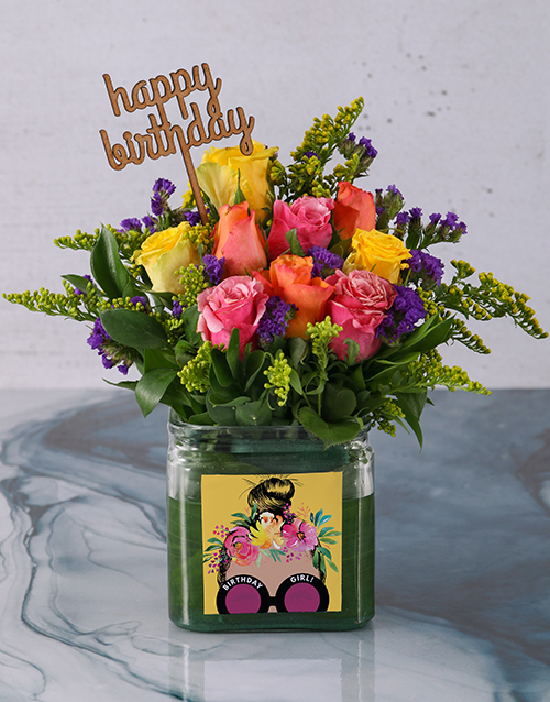 birthday: Colourful Birthday Roses in a Vase!