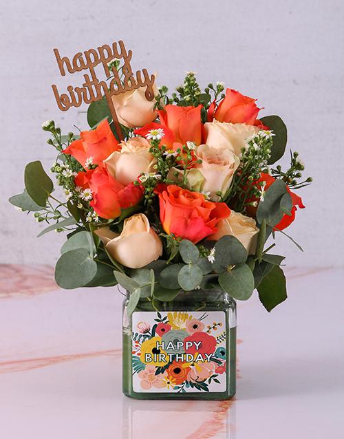 birthday: Bright Birthday Rose Blooms in a Vase!