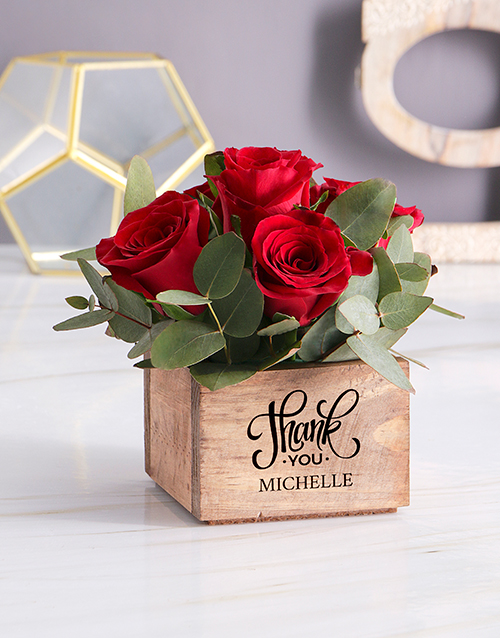 year-end: Personalised Red Rose Heaven In Wooden Box!