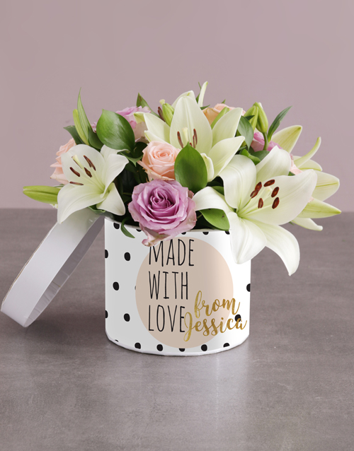 baby: Personalised Mixed Flowers With Love Hat Box!