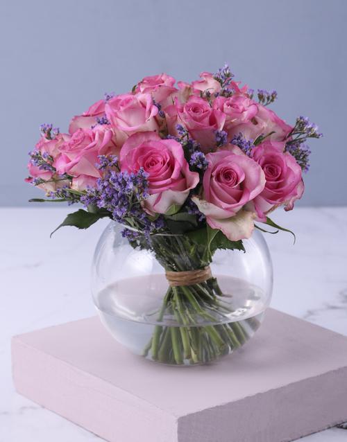 birthday: Pink Petals In Vase Gift!