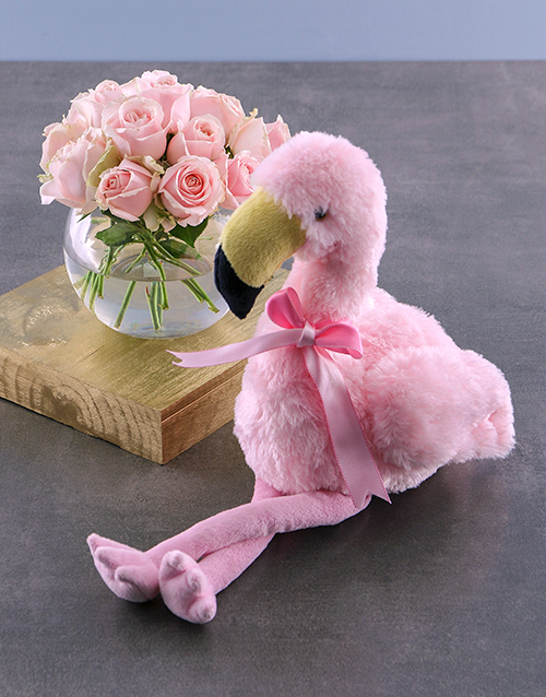anniversary: Pink Roses And Flamingo Teddy Gift!
