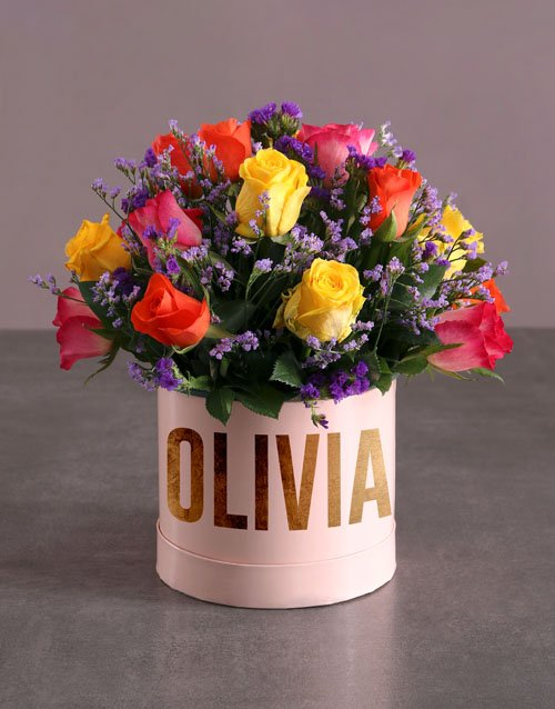 christmas: Personalised Mixed Flowers In Hat Box!