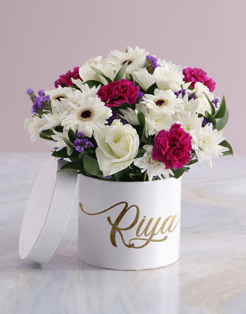 year-end: Personalised On My Mind Mixed Flowers Hat Box!