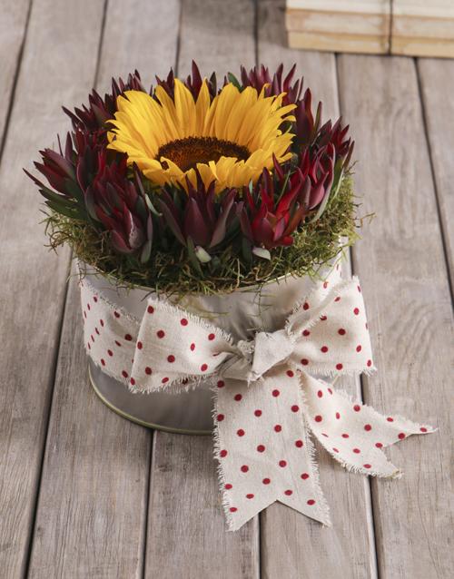 birthday: Polka Dot Sunflower Tin!