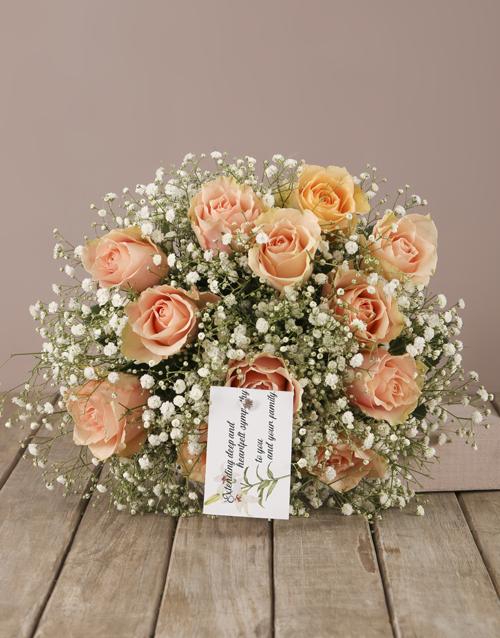 colour: Peach Roses Sympathy Bouquet!