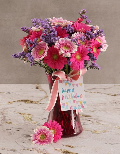 coloured-vases: Mixed Gerbera Blossoms!
