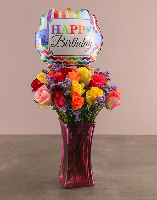 balloon: Birthday Bunch Of Colourful Roses!