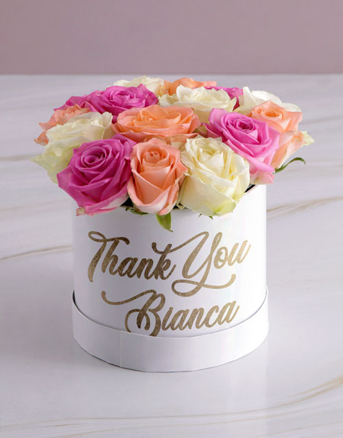 colour: Personalised Thanking You Mixed Flowers Hat Box!