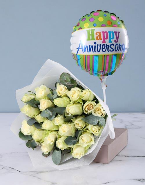 balloon: White Roses with Happy Anniversary Balloon!
